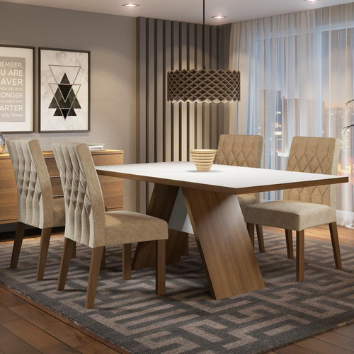 sala de jantar madesa diana mesa tampo de madeira 4 cadeiras