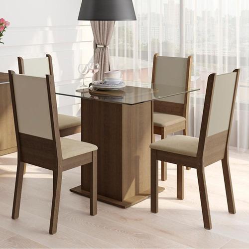 sala de jantar madesa isis mesa com 4 cadeiras - rustic
