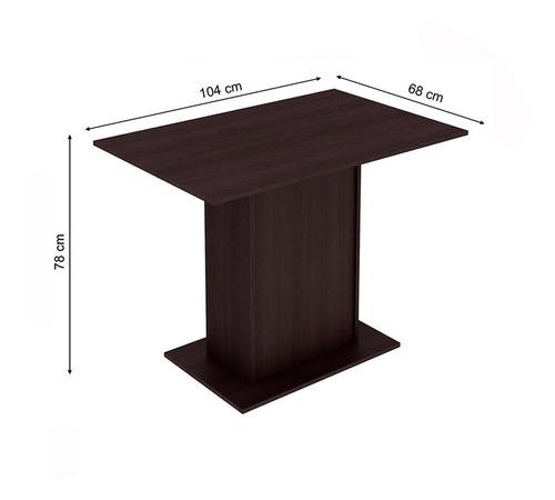 sala de jantar rita madesa mesa com 4 cadeiras - tabaco
