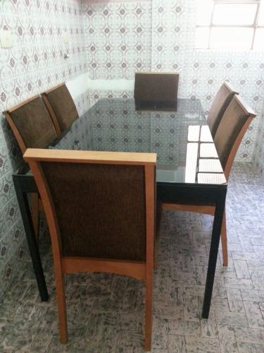 sala de jantar tok stok tampo de vidro preto leia anúncio