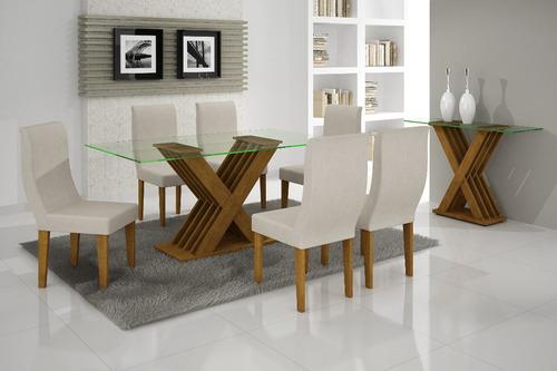 sala de jantar verona 6 lugares tpo vidro 1,60x0,80 rufato