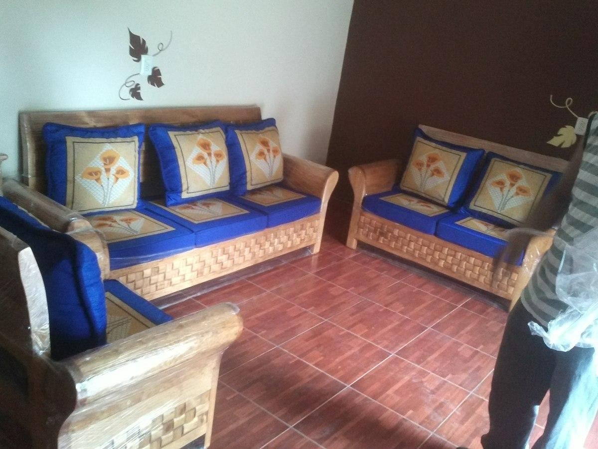 sala de madera con cojines 10 en mercado libre