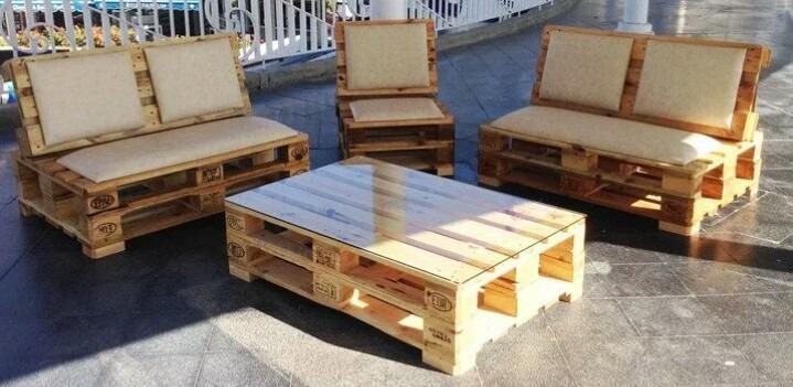 Sala de madera estilo palet 5 en mercado libre for Living comedor con palet de madera
