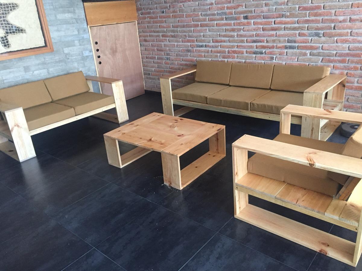 Sala de madera solida moderna minimalista 14 en mercado libre for Salas de madera modernas