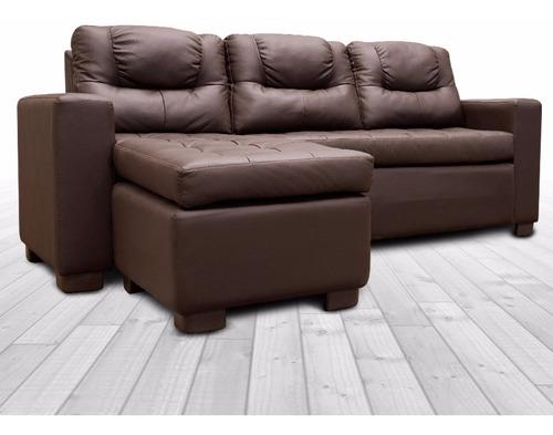 sala de piel -camille /modular 2 pzs -chocolate unica outlet