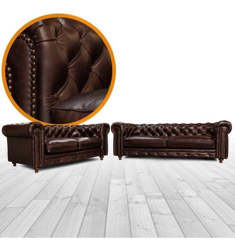 sala de piel - chesterfield / sofa y love - confortopiel