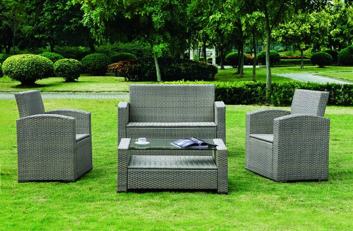 Sala de rattan sint tico ideal para terraza o jard n ys for Jardin o jardin