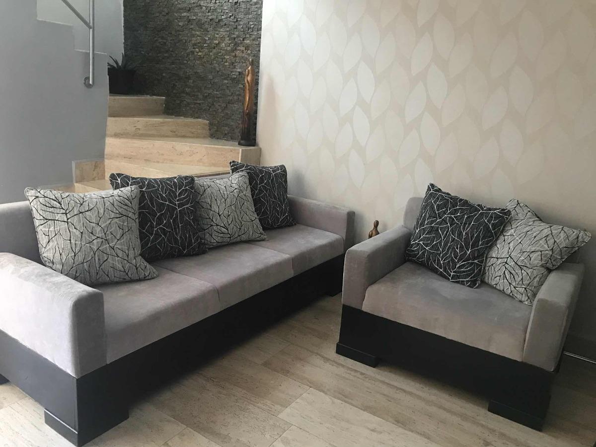 Sala Decoracion Sofa Gris Elegante 15 900 00 En Mercado Libre
