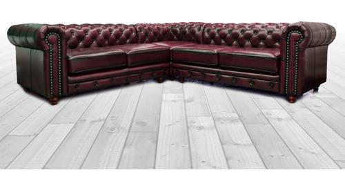 sala esquinera de piel genuina chesterfield - confortopiel