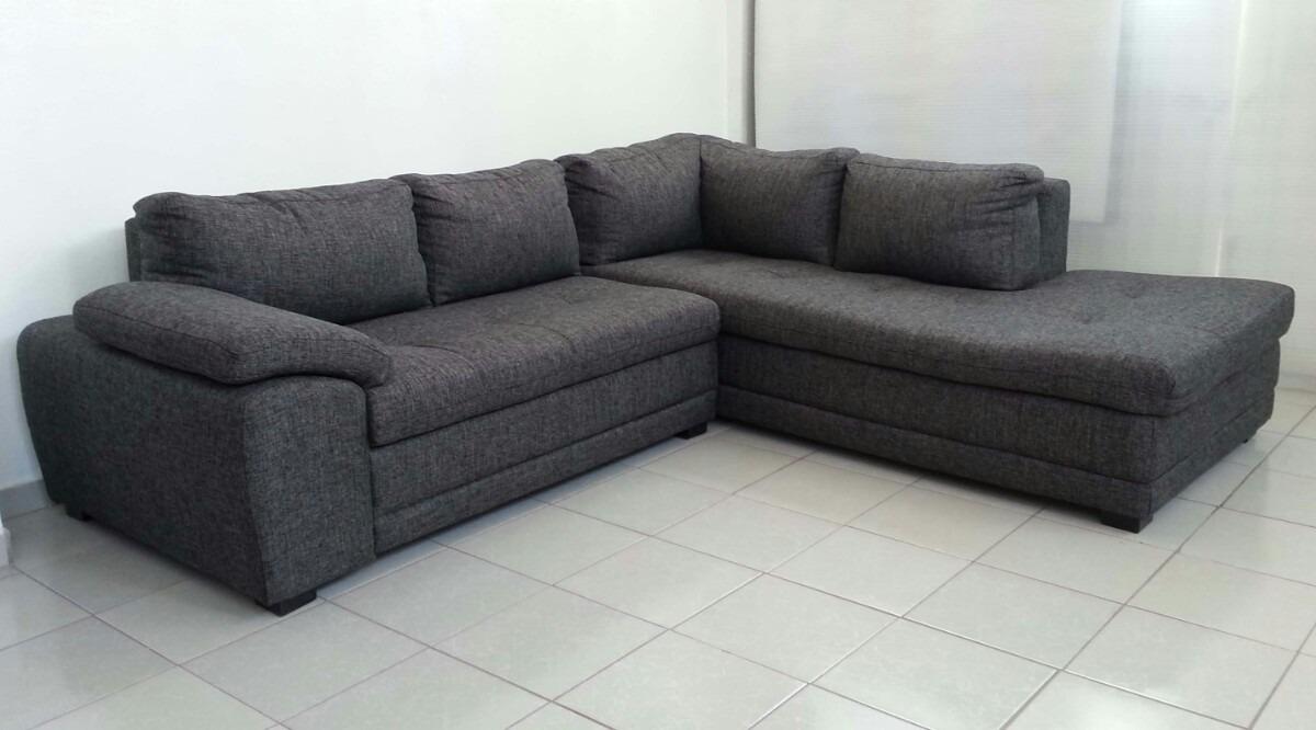 Sala esquinera grande gris l sof y chaise 2 sillones for Salas en l modernas