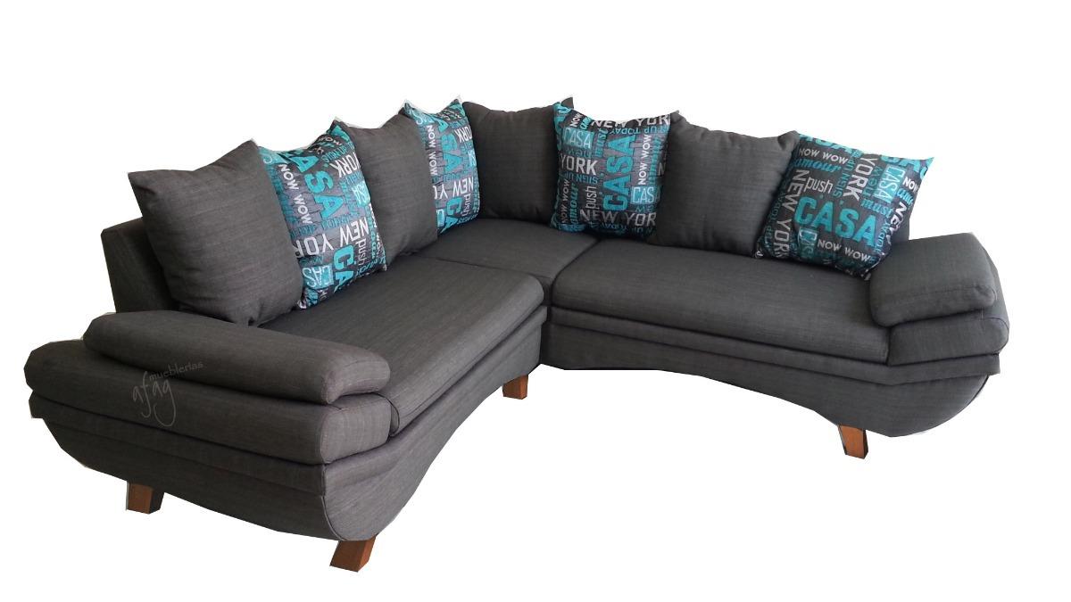 Sala esquinera gris y turquesa moderna l 2 sillones c moda for Salas en l modernas