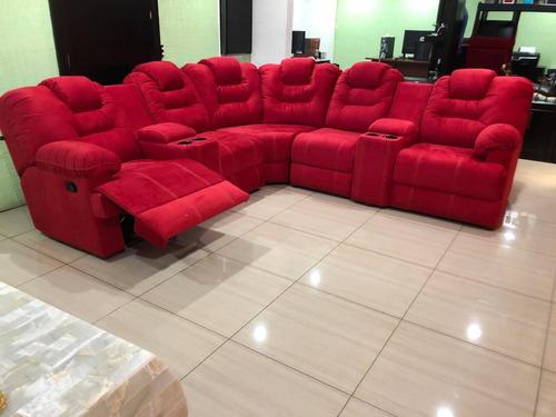 sala esquinera modular con portavasos un reclinable