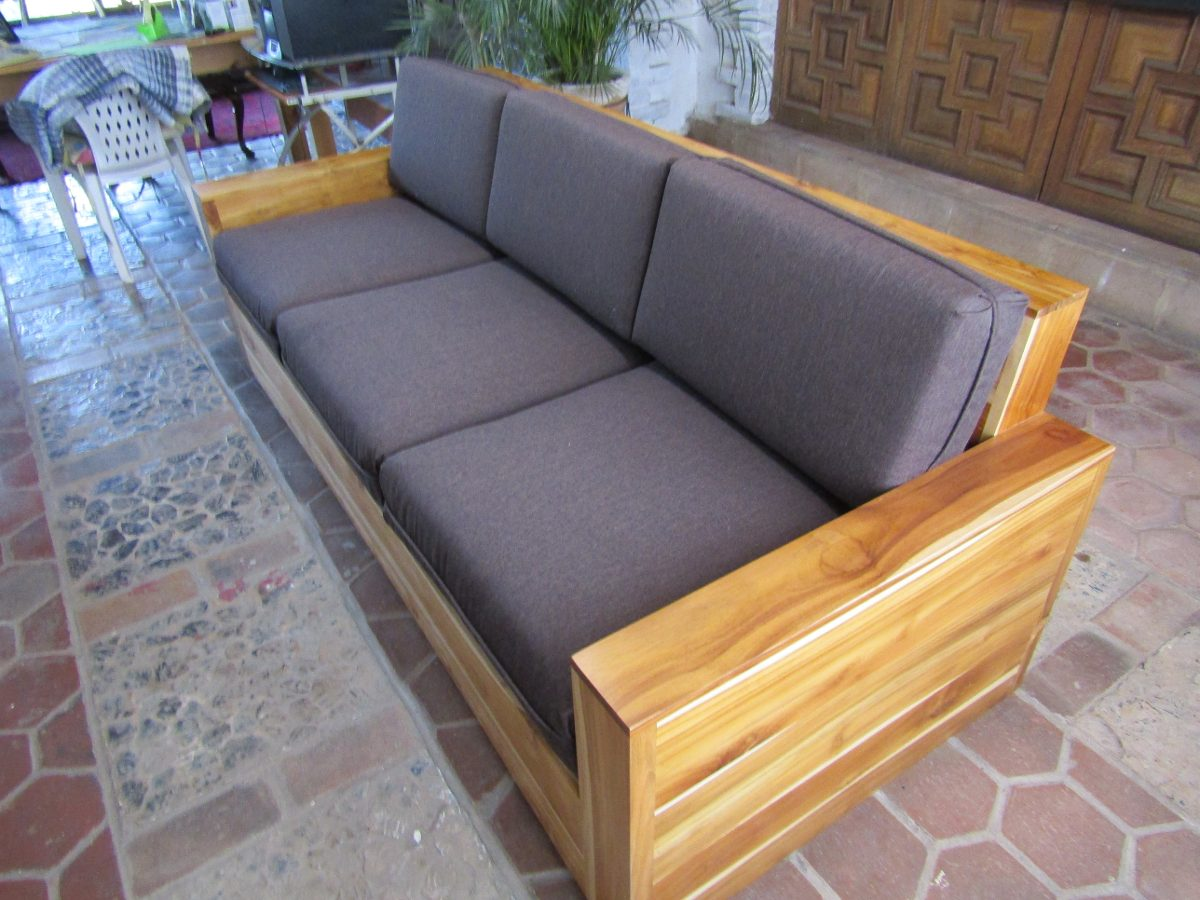 Sala exterior madera teka importada sillones mesa cojines - Cojines para sillones de terraza ...