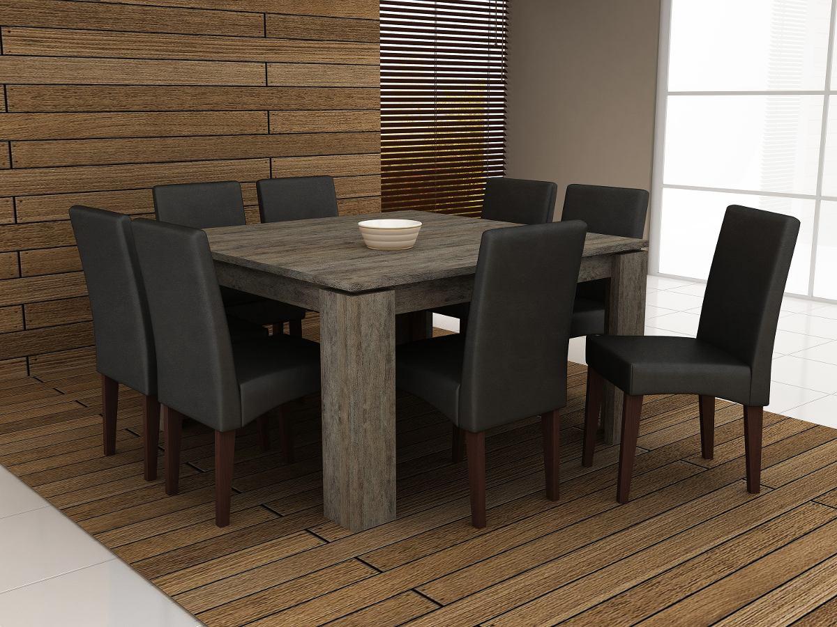 Jogo De Sala De Jantar Em Madeira ~ Jogo De Mesa Com 8 Cadeira Para Sala De Jantar Ammo  R$ 2390,00 em