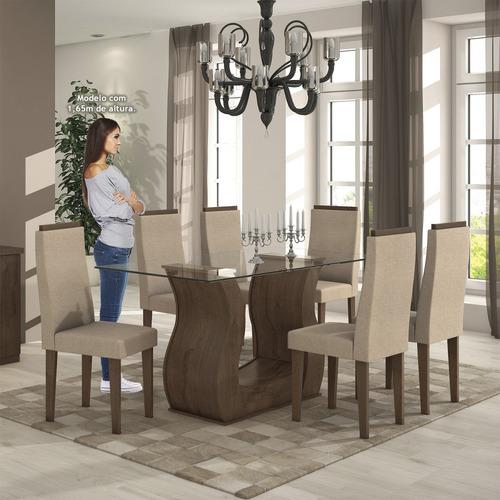 sala jantar tampo em vidro 6 cadeiras dafne móveis lo hi