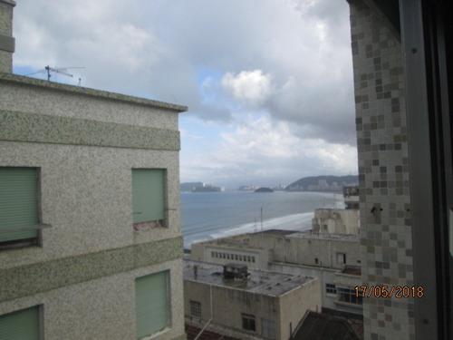 sala-living com vista mar esquina praia aparecida andar alto