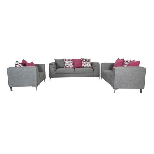 Sala malbec de 3 piezas estilo contempor neo color gris for Muebles de sala 3 piezas