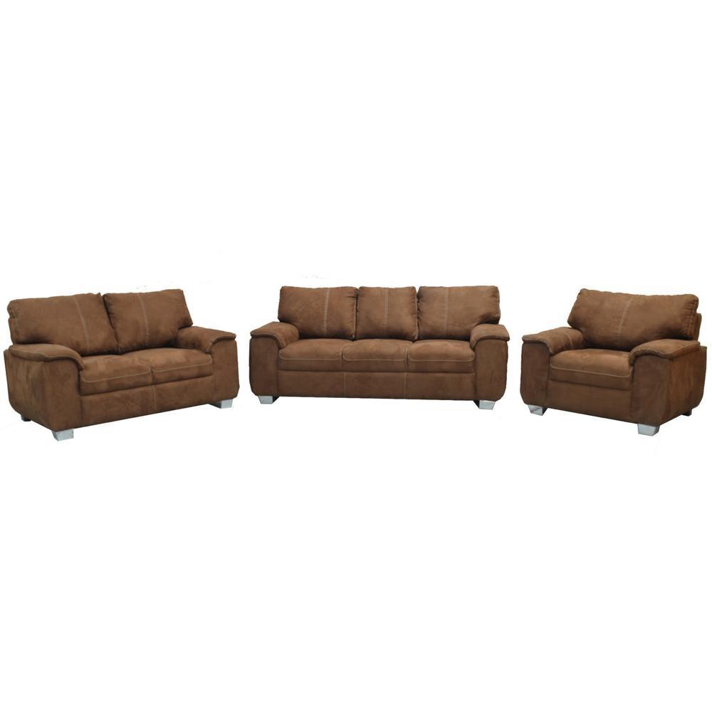 Sala moderna berlin 3 piezas tabaco fabou muebles for Muebles de sala 3 piezas