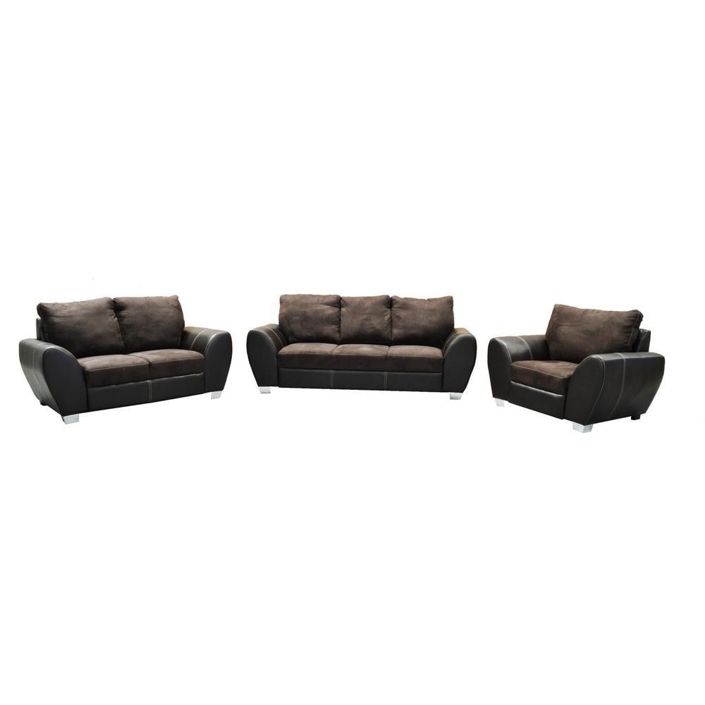 Sala moderna bronte 3 piezas tabaco fabou muebles for Muebles de sala 3 piezas