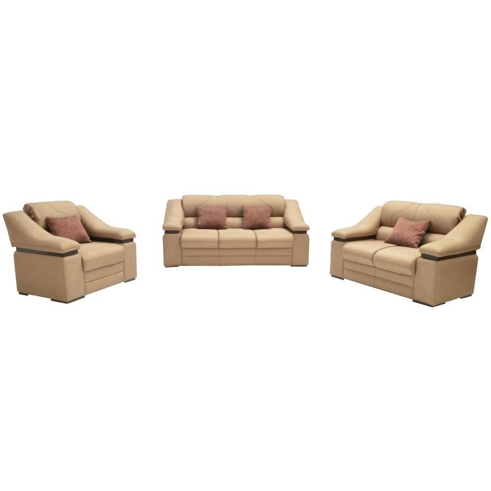 Sala moderna grecia 3 piezas beige fabou muebles for Muebles de sala 3 piezas