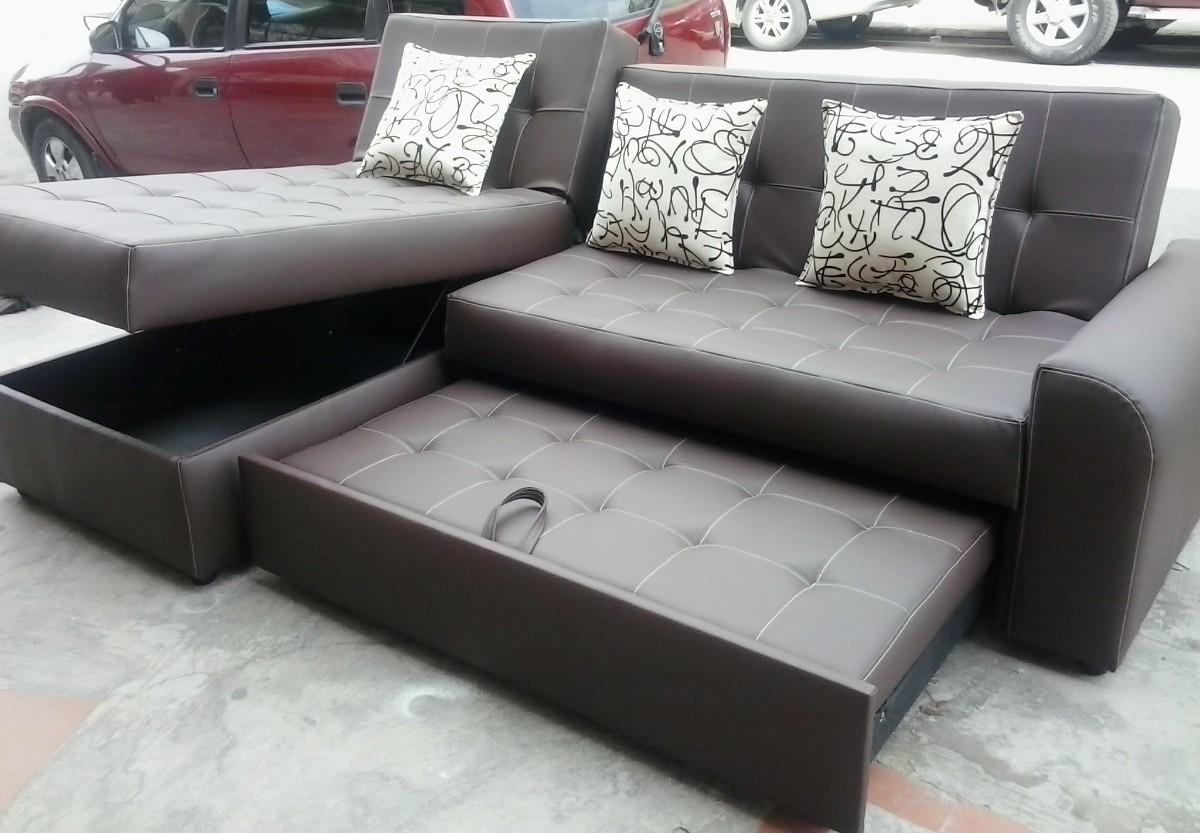 Sala moderna sofa cama con baul puff baul mesa envio for Salas en l modernas
