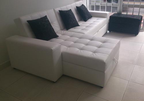 sala moderna sofa cama con baul, puff y cojines bogota envio