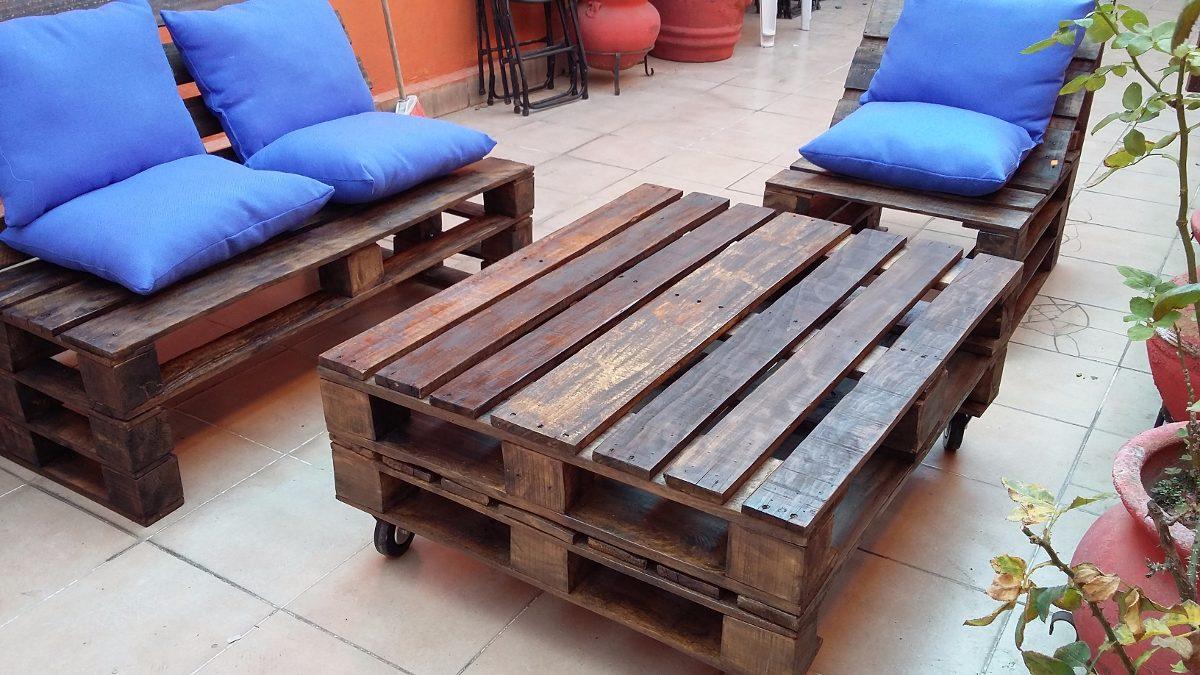 Sala palet vintage madera reciclada pallets tarima for Muebles de sala ibague
