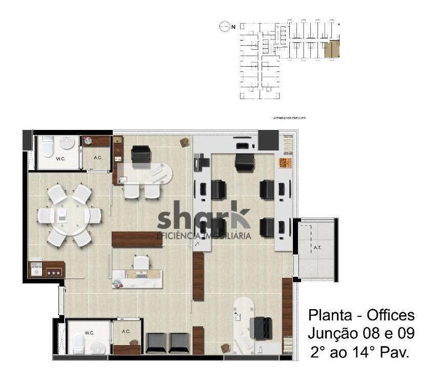 sala para alugar, 30 m² por r$ 1.200,00/mês - tamboré - santana de parnaíba/sp - sa0009