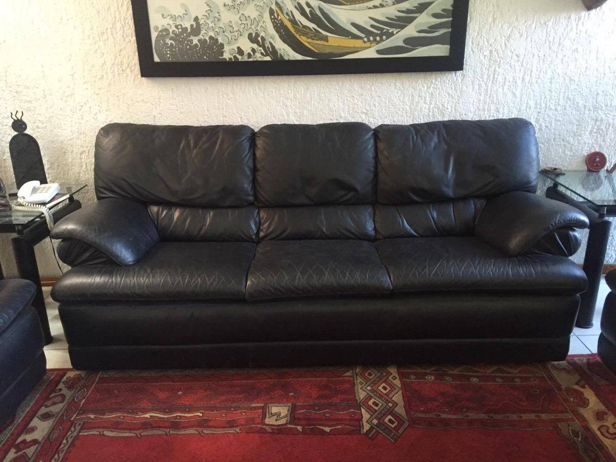 Sala piel negra tutto pelle 3 piezas 19 en for Muebles de sala 3 piezas