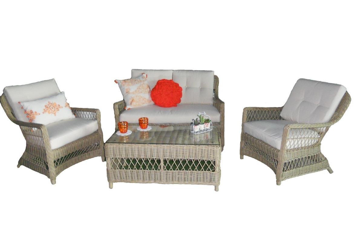 Sala rattan para exterior jardin terraza sofa mesa for Sofas de ratan para jardin