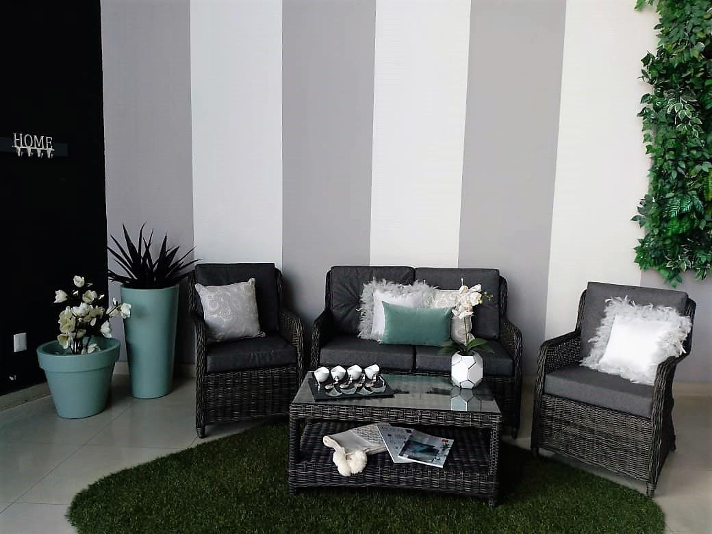 Sala Rattan Sintético Decoración Exterior Jardín Y Terraza