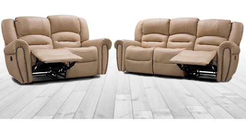 sala reclinable piel genuina oxford sofa y love  - conforto