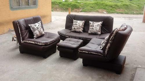 sala reclinable sofá 2 puestos y 2 poltronas