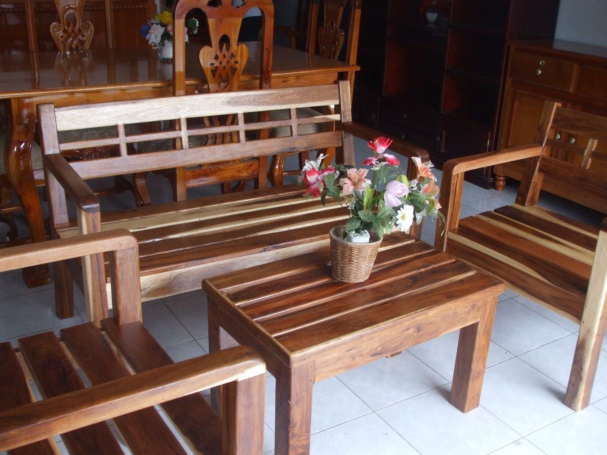 Sala r stica de 4 pzas 5 en mercado libre for Bar de madera para sala