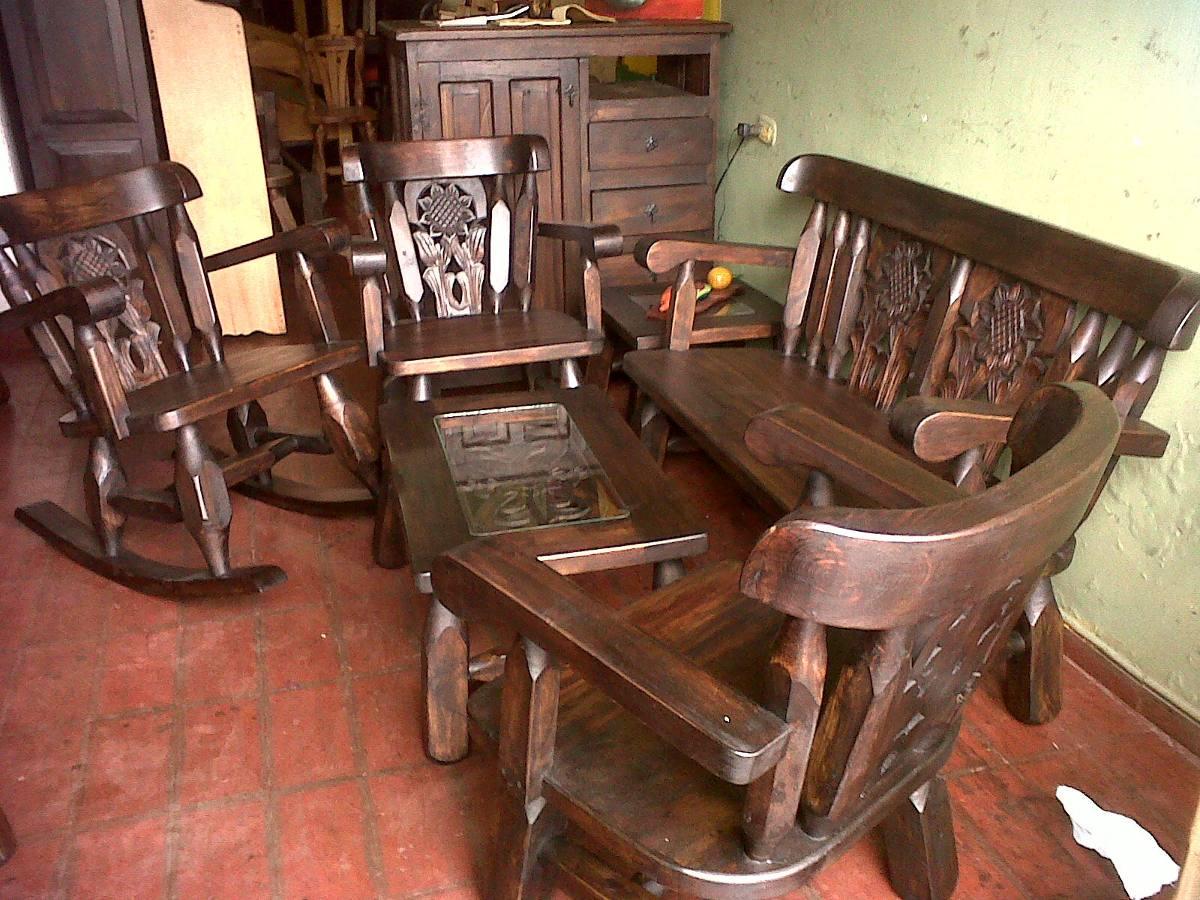 Sala rustica economica en mercado libre for Muebles de sala madera