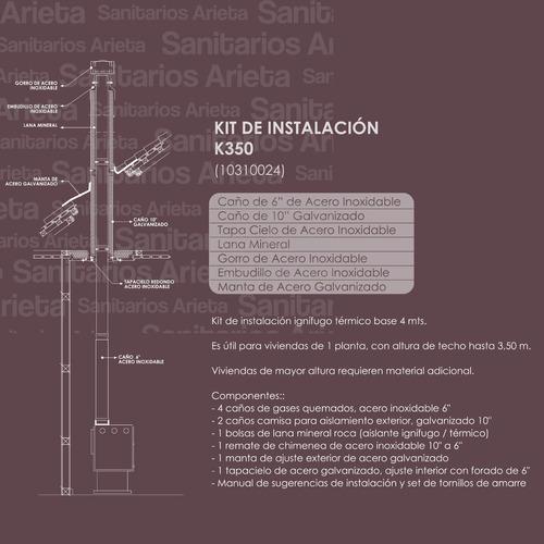 salamandra a leña bosca eco e350 6448 kcal/h + kit techo