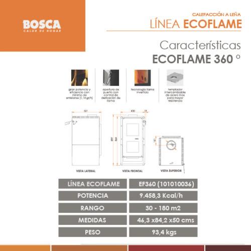 salamandra bosca eco flame 360 estufa leña 180m2 9500k + kit