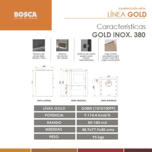 salamandra bosca gold 380 ac inox estufa leña 180m2 kca 9100