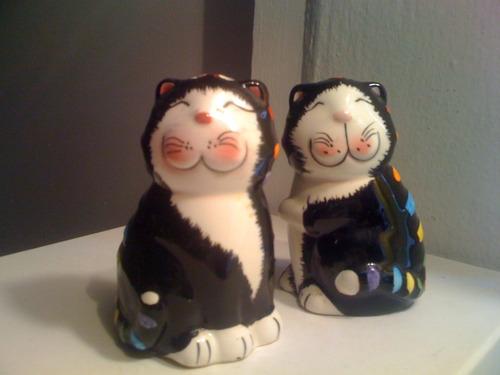 salero y pimentero gatos