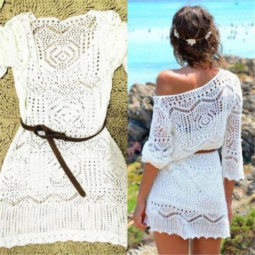 salida de baño playa ropa elegante crochet manga larga