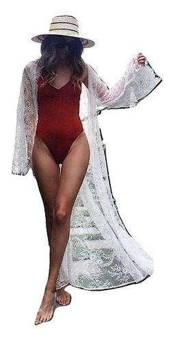 salida de baño ropa paya pareo mujer maxi encaje blanco