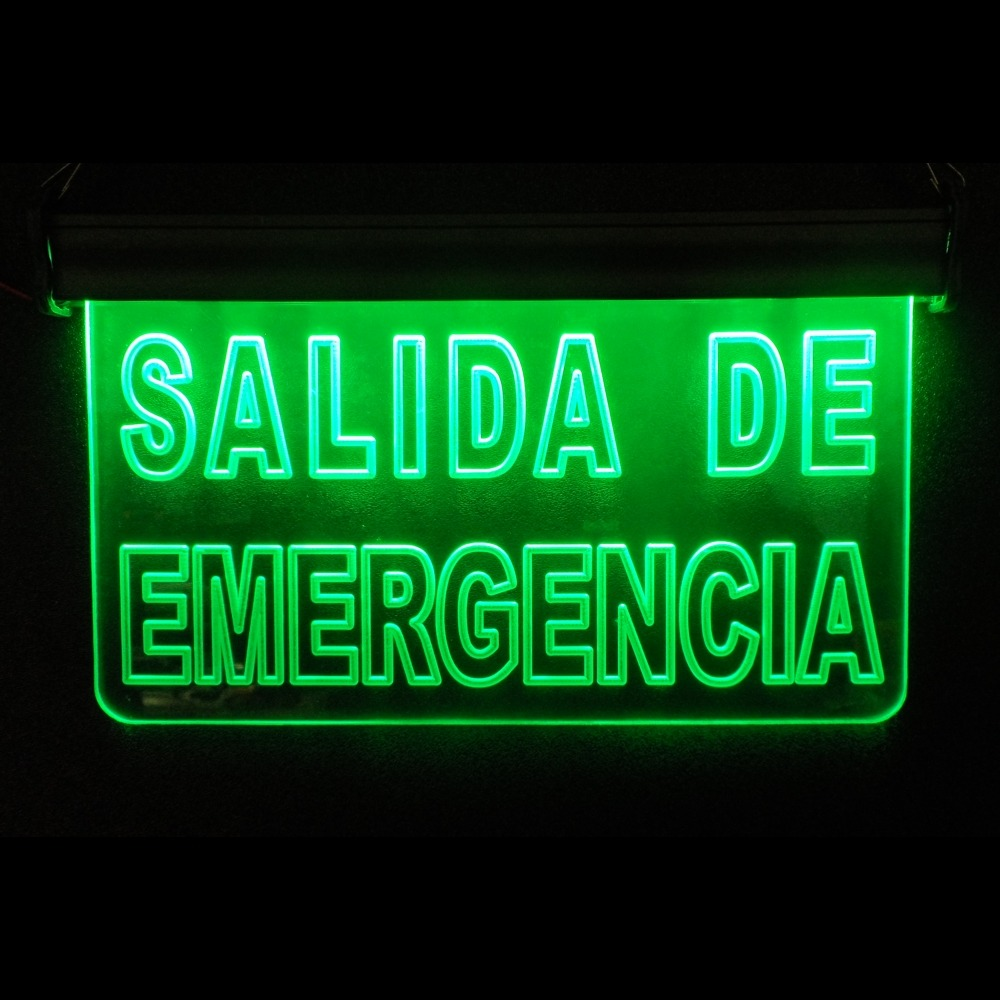 Salida de emergencia letrero luminoso led acr lico anuncio for Salida libre