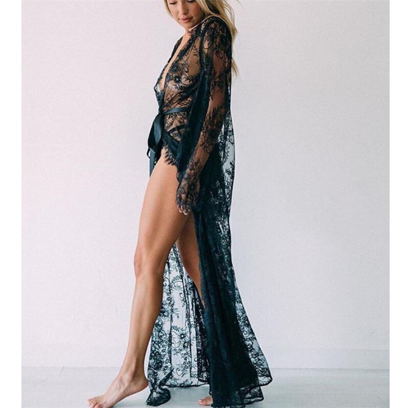 a300819d7b01 Salida De Playa Larga Encaje Pareo Elegante Vestido Mujer Blusa  Semitransparente Cinturon