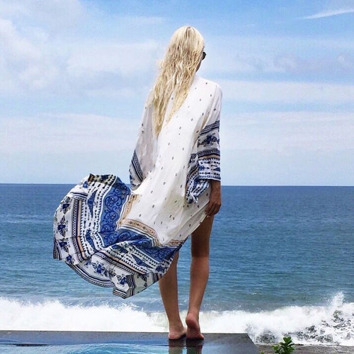 salida de playa larga lisa pareo mujer blusa vestido
