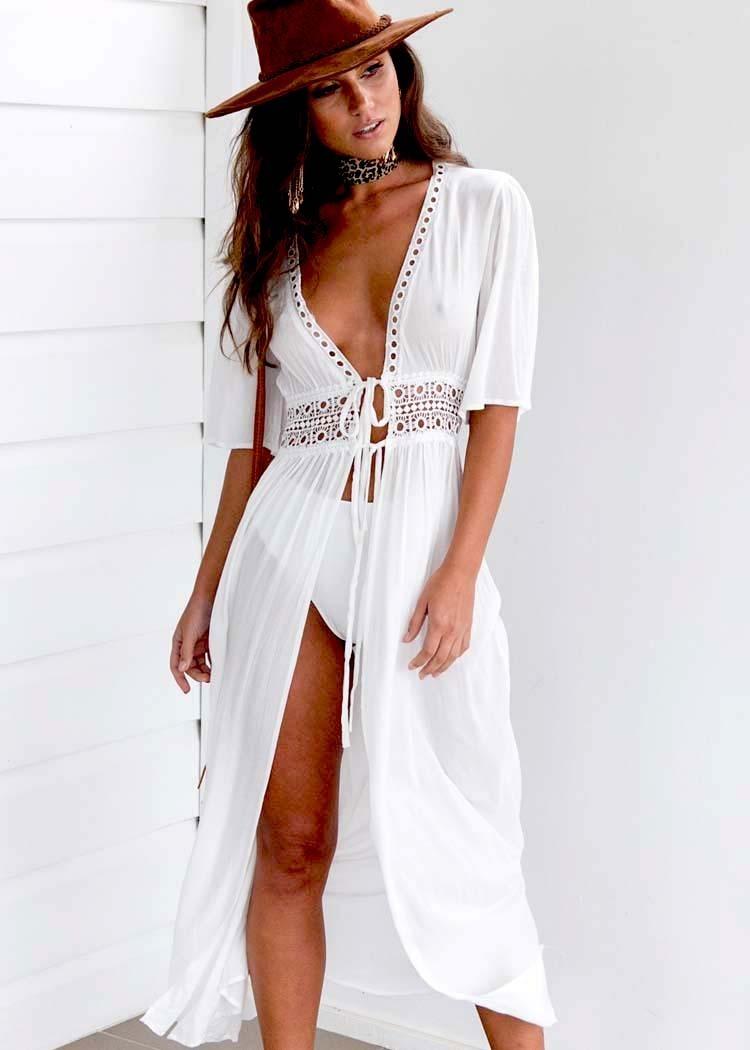 2b9f844817f0 Salida De Playa Larga Tipo Vestido Pareo Cover Up Mujer Elegante Colores  Lisos Blusa