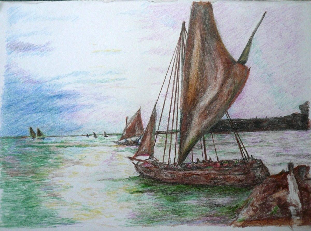 Salida De Veleros De Mar Del Plata Dibujo Lapiz Color 342900
