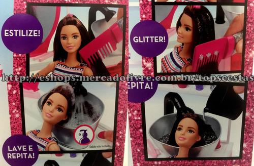 salão beleza boneca barbie morena sai água verdade mattel