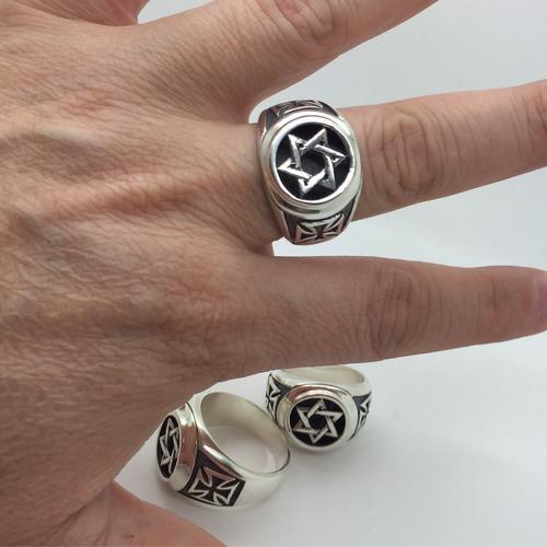 salomao davi seis prata de lei 950 anel cruz malta lateral