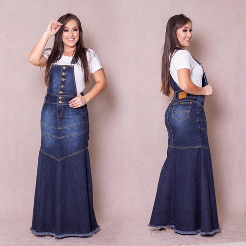 salopete jardineira jeans longa