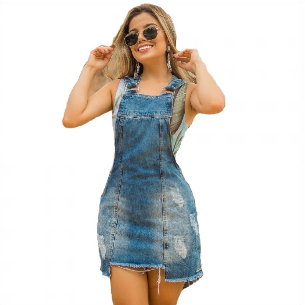 fcf679da6 salopete jardineira jeans s/ lycra com barra assimétrica. Carregando zoom.